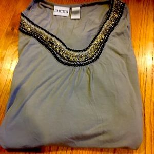 Chico's beaded long sleeve top